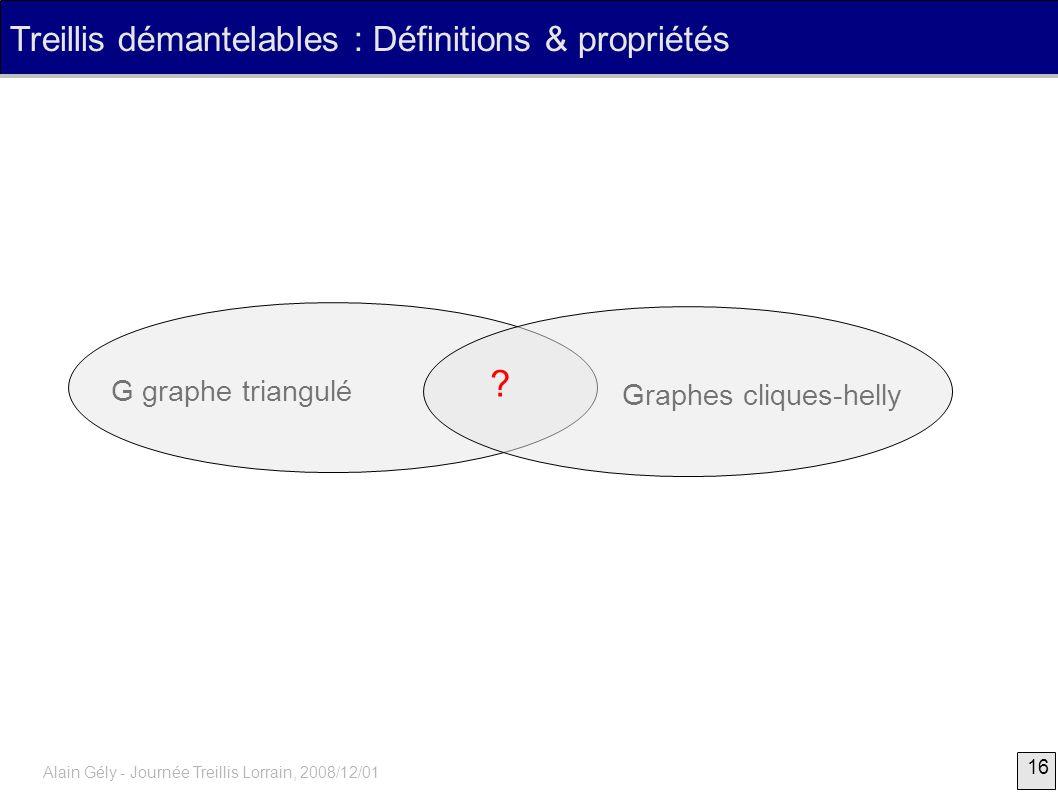 Treillis démantelables : Définitions & propriétés G graphe triangulé