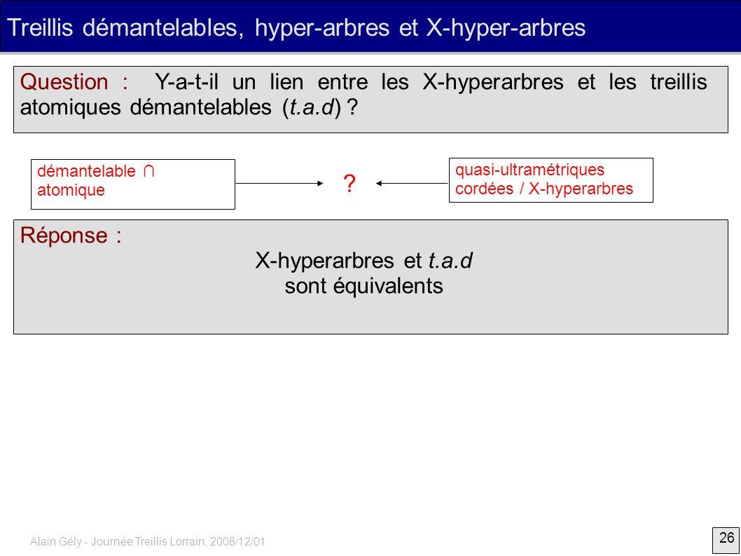Treillis démantelables, hyper-arbres et X-hyper-arbres