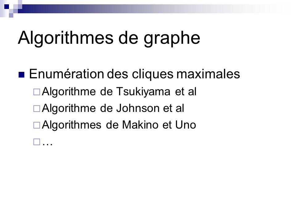 Algorithmes de graphe Enumération des cliques maximales
