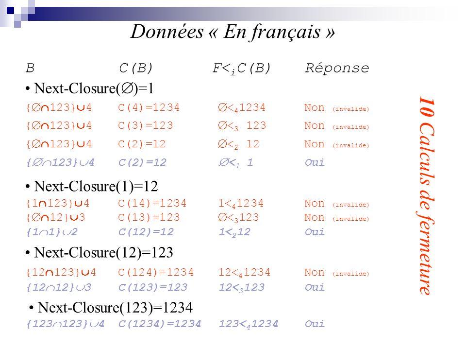Données « En français » 10 Calculs de fermeture