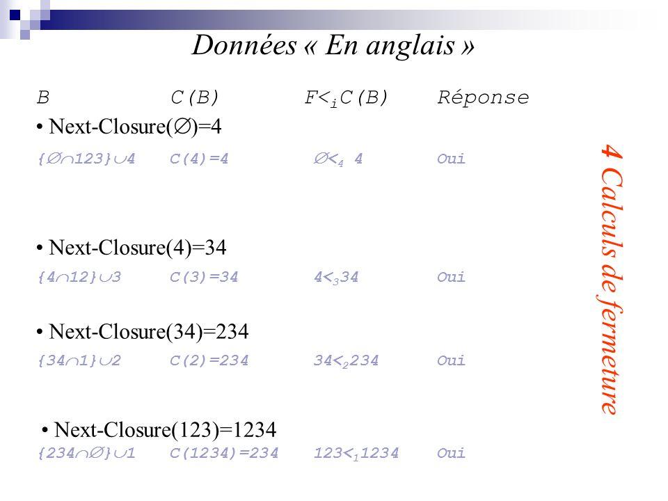 Données « En anglais » 4 Calculs de fermeture