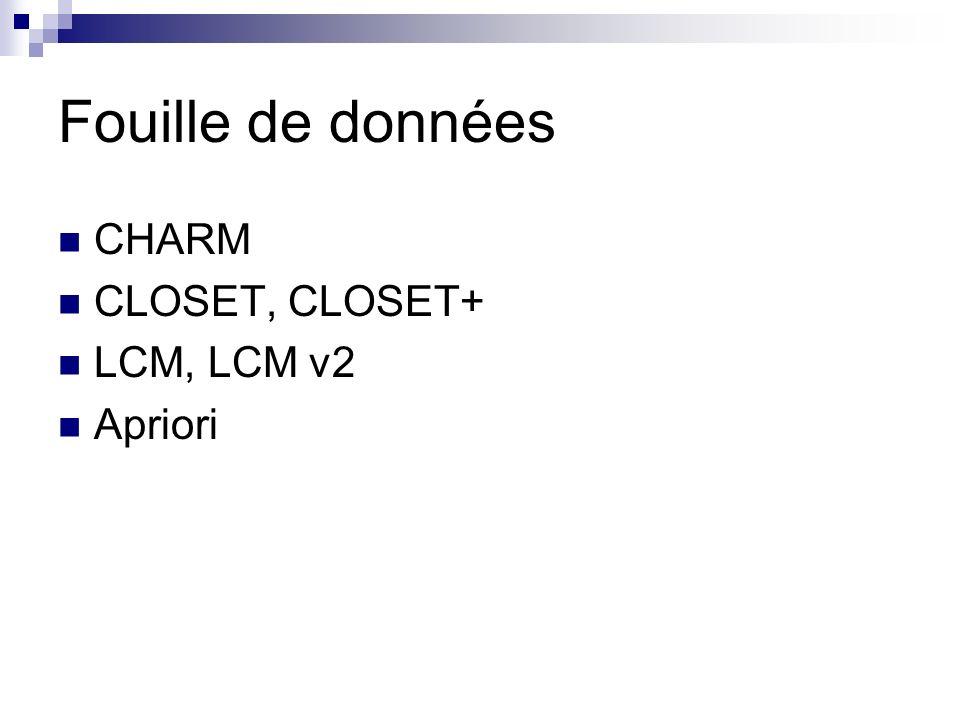 Fouille de données CHARM CLOSET, CLOSET+ LCM, LCM v2 Apriori