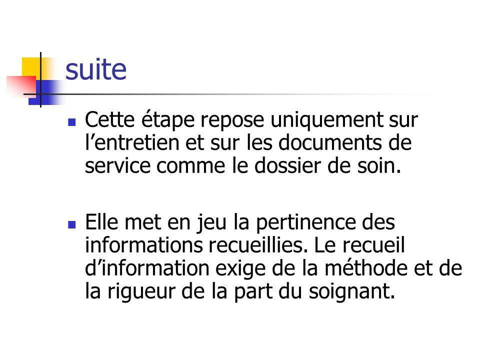 suite Cette étape repose uniquement sur l'entretien et sur les documents de service comme le dossier de soin.