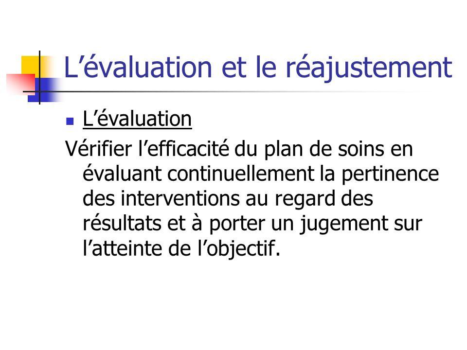 L'évaluation et le réajustement