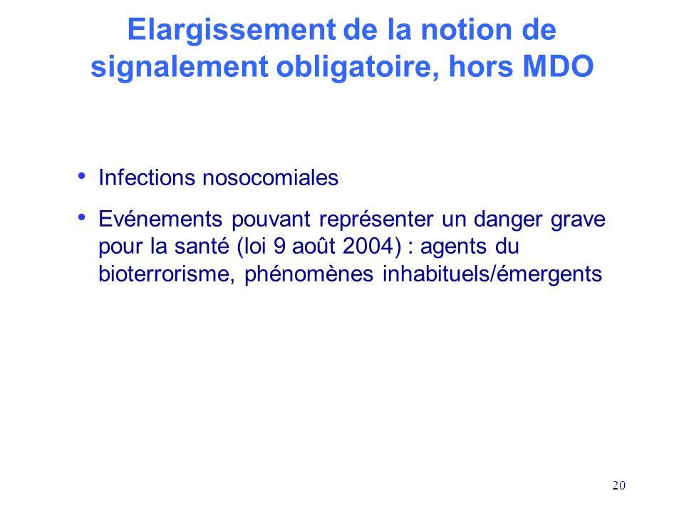 Elargissement de la notion de signalement obligatoire, hors MDO
