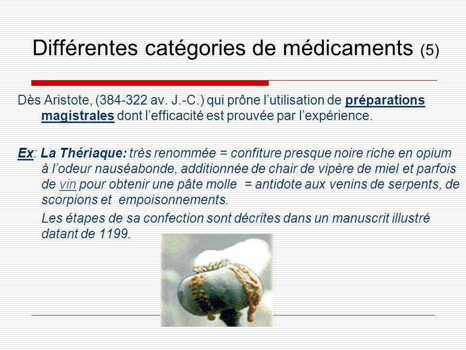 Différentes catégories de médicaments (5)