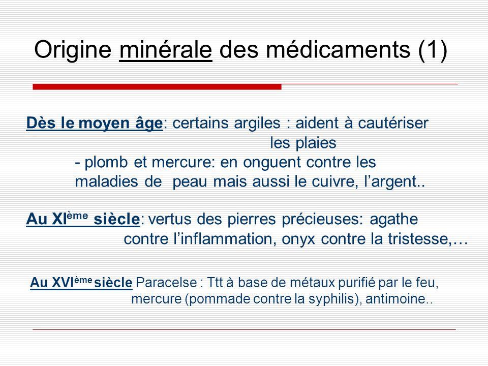 Origine minérale des médicaments (1)