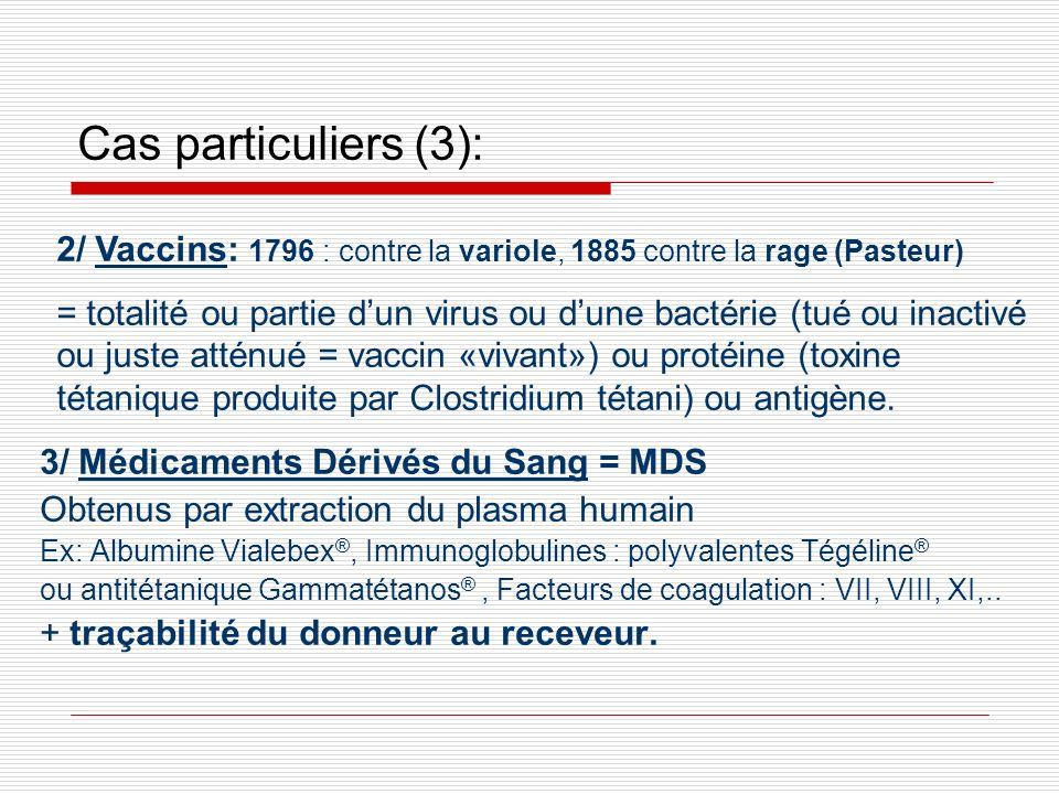 Cas particuliers (3): 2/ Vaccins: 1796 : contre la variole, 1885 contre la rage (Pasteur)