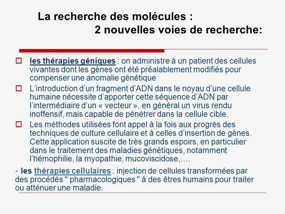 La recherche des molécules : 2 nouvelles voies de recherche: