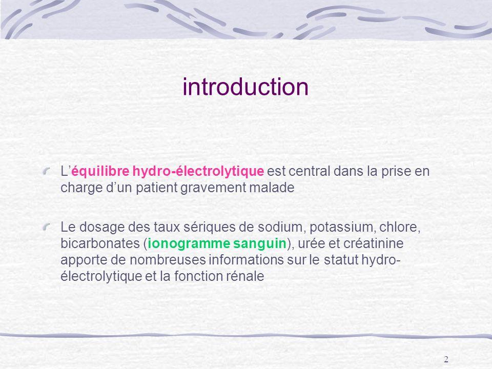 introduction L'équilibre hydro-électrolytique est central dans la prise en charge d'un patient gravement malade.