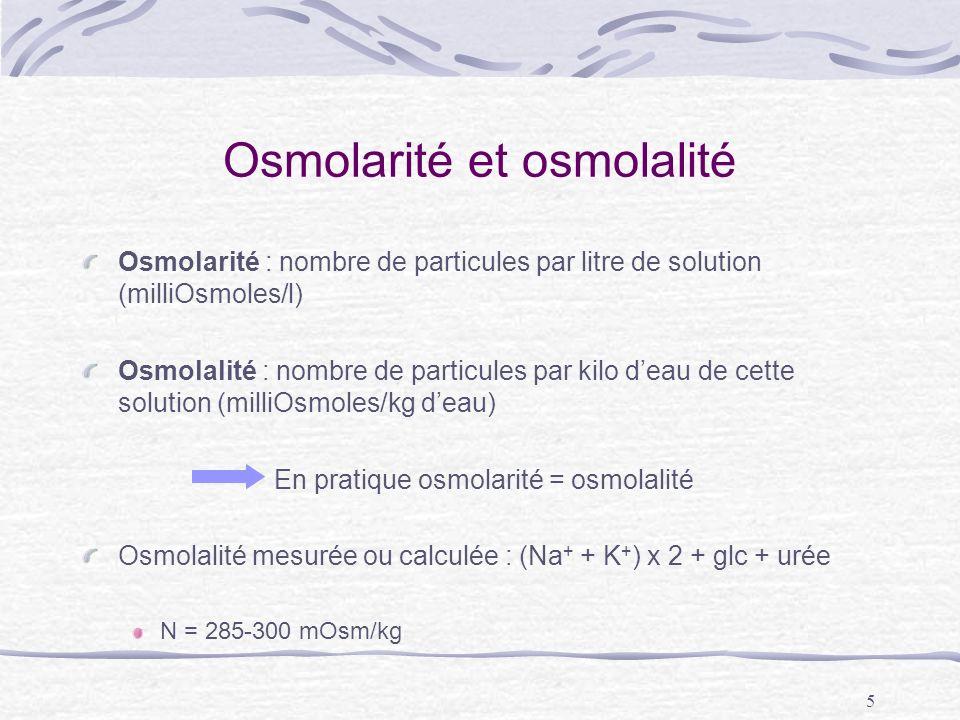 Osmolarité et osmolalité