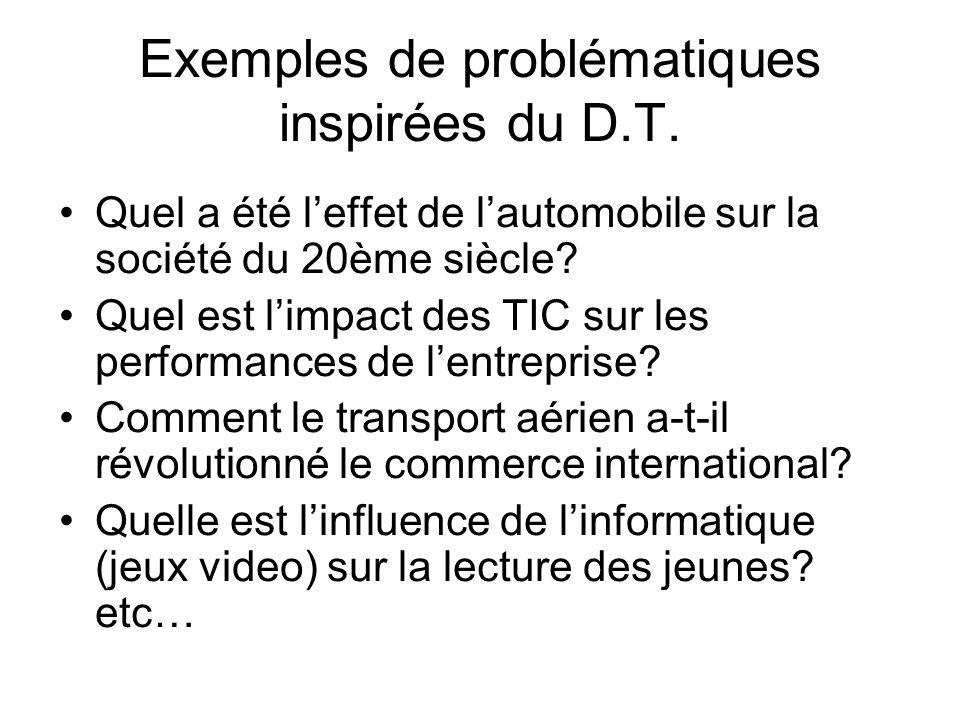 Exemples de problématiques inspirées du D.T.