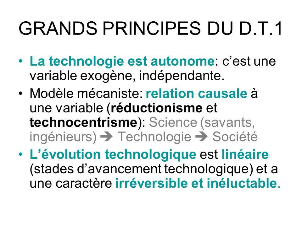 GRANDS PRINCIPES DU D.T.1 La technologie est autonome: c'est une variable exogène, indépendante.