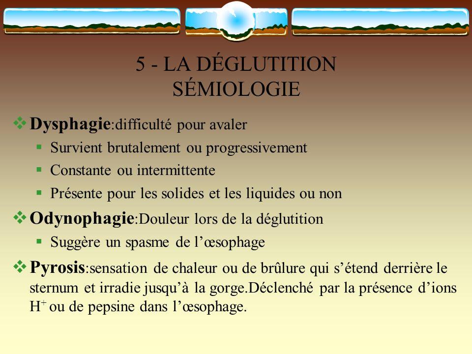 5 - LA DÉGLUTITION SÉMIOLOGIE