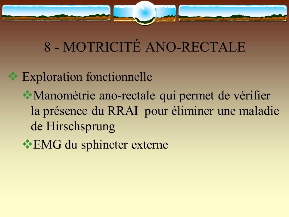 8 - MOTRICITÉ ANO-RECTALE