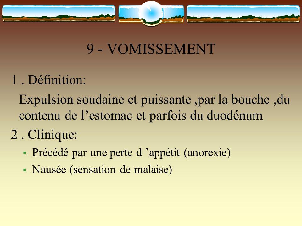 9 - VOMISSEMENT 1 . Définition: