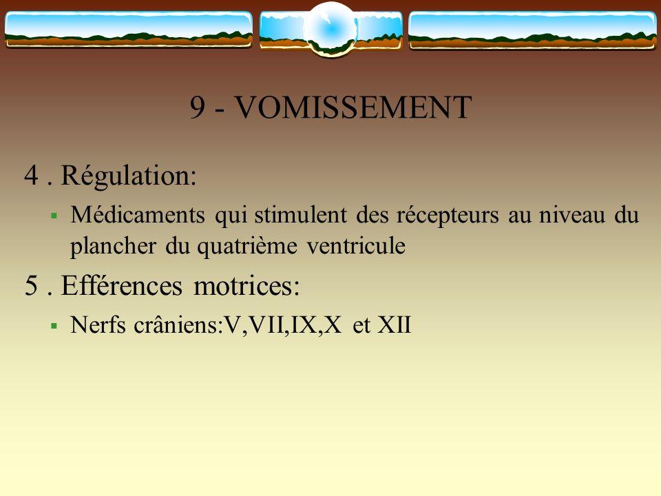 9 - VOMISSEMENT 4 . Régulation: 5 . Efférences motrices: