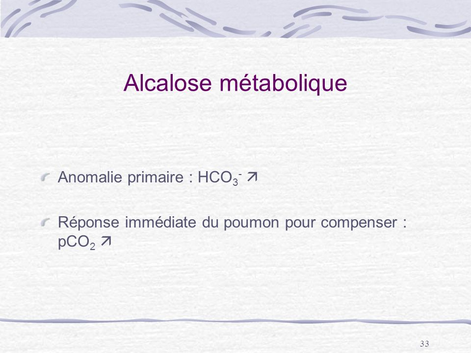 Alcalose métabolique Anomalie primaire : HCO3- 