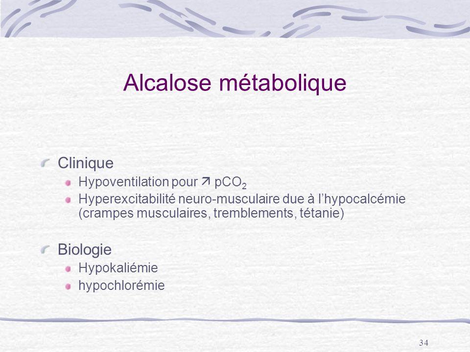 Alcalose métabolique Clinique Biologie Hypoventilation pour  pCO2