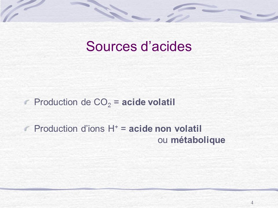 Sources d'acides Production de CO2 = acide volatil