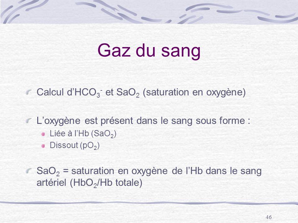 Gaz du sang Calcul d'HCO3- et SaO2 (saturation en oxygène)