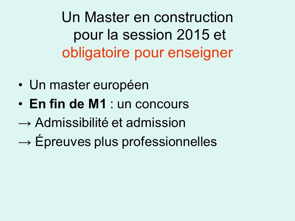 Un Master en construction pour la session 2015 et obligatoire pour enseigner