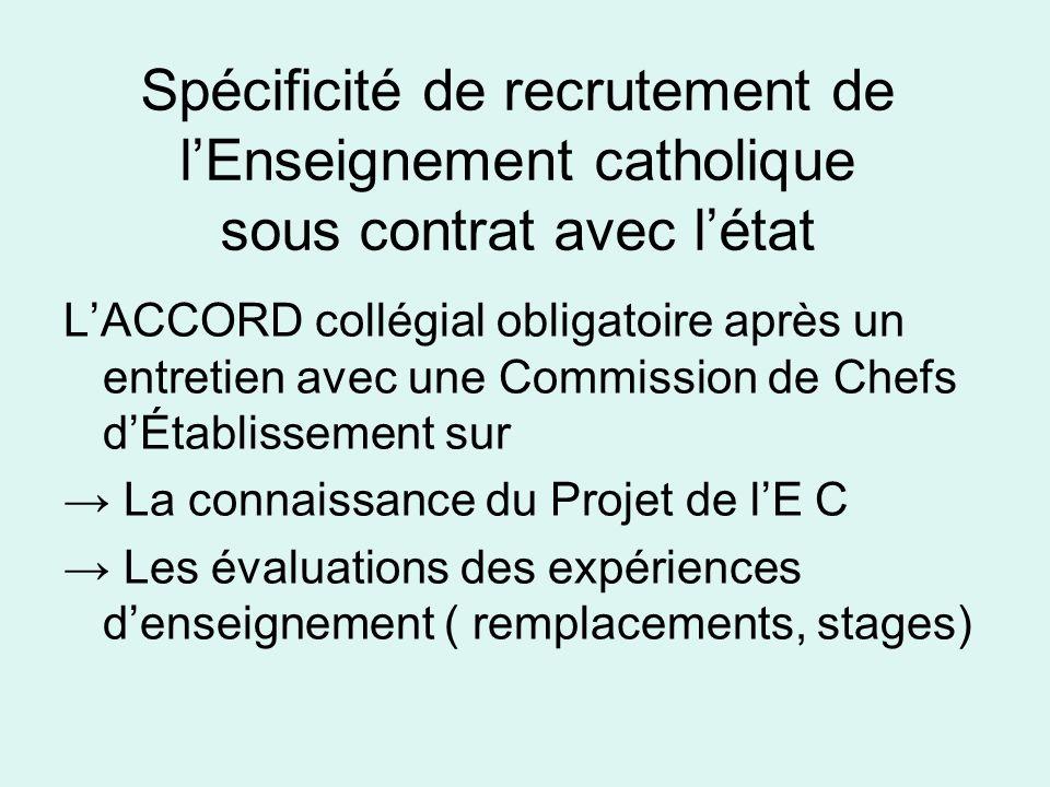 Spécificité de recrutement de l'Enseignement catholique sous contrat avec l'état