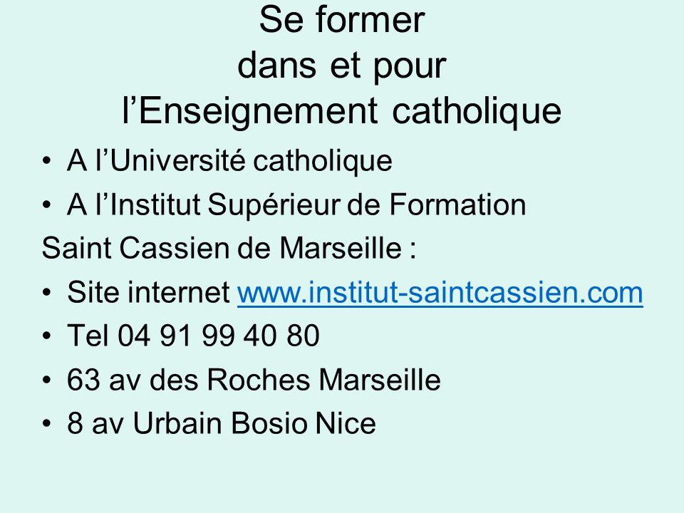 Se former dans et pour l'Enseignement catholique