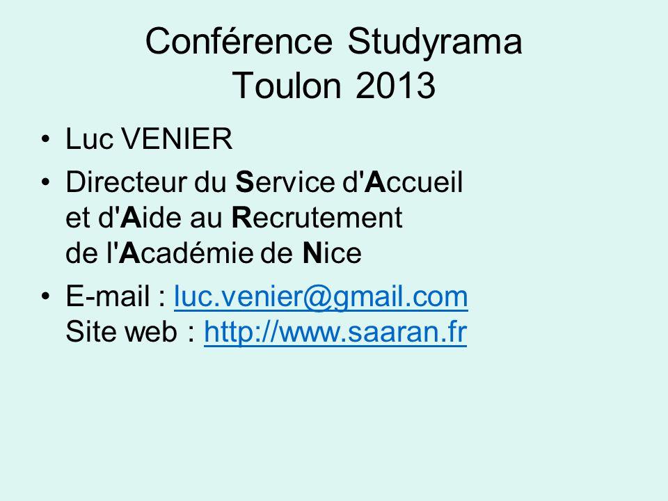 Conférence Studyrama Toulon 2013