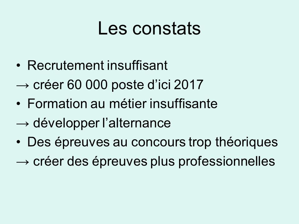 Les constats Recrutement insuffisant créer 60 000 poste d'ici 2017