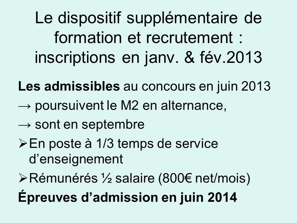 Le dispositif supplémentaire de formation et recrutement : inscriptions en janv. & fév.2013