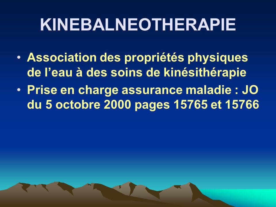 KINEBALNEOTHERAPIE Association des propriétés physiques de l'eau à des soins de kinésithérapie.