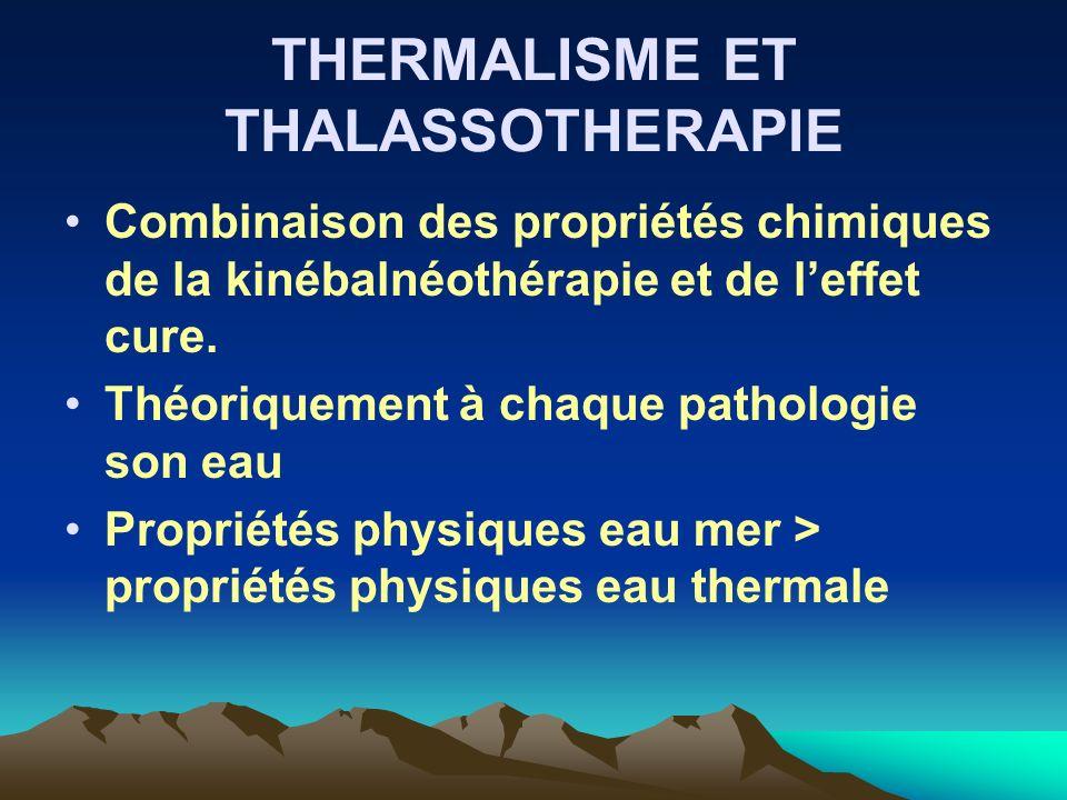 THERMALISME ET THALASSOTHERAPIE