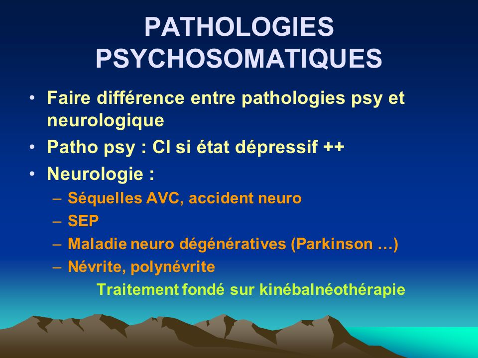 PATHOLOGIES PSYCHOSOMATIQUES