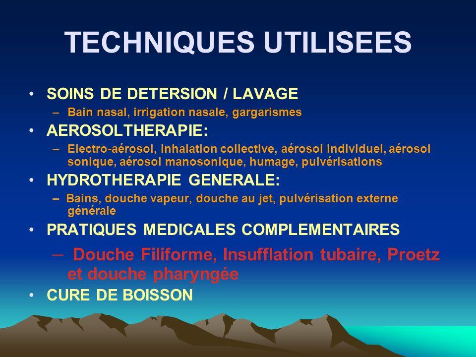 TECHNIQUES UTILISEES SOINS DE DETERSION / LAVAGE. Bain nasal, irrigation nasale, gargarismes. AEROSOLTHERAPIE: