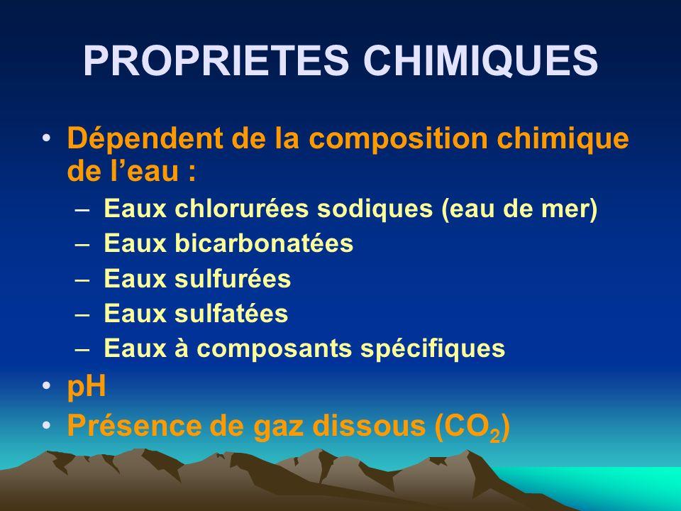PROPRIETES CHIMIQUES Dépendent de la composition chimique de l'eau :