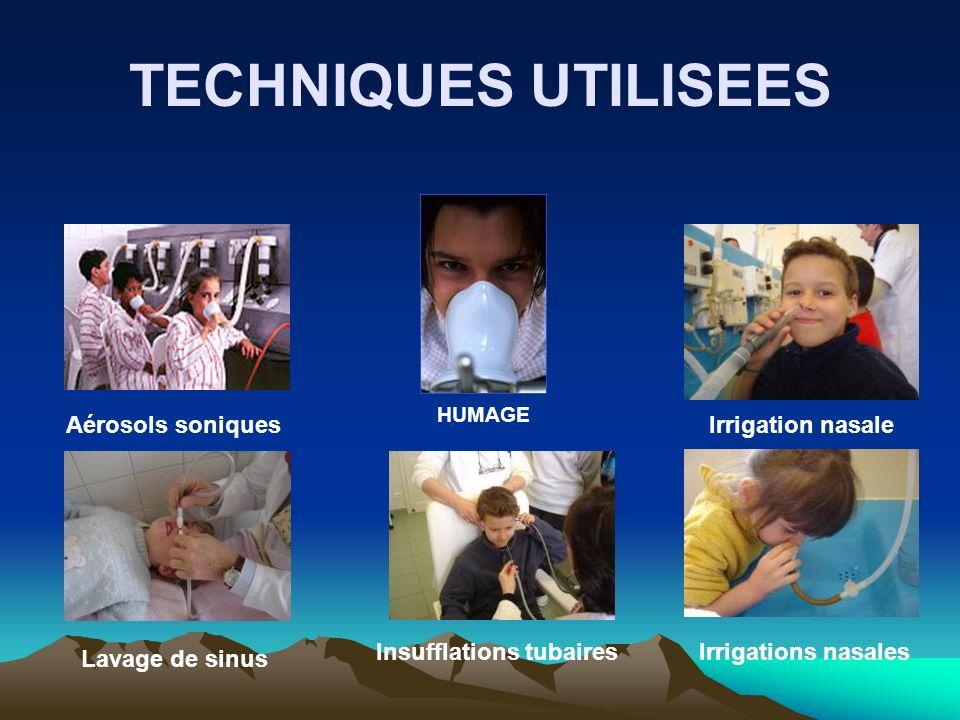 TECHNIQUES UTILISEES Aérosols soniques Irrigation nasale