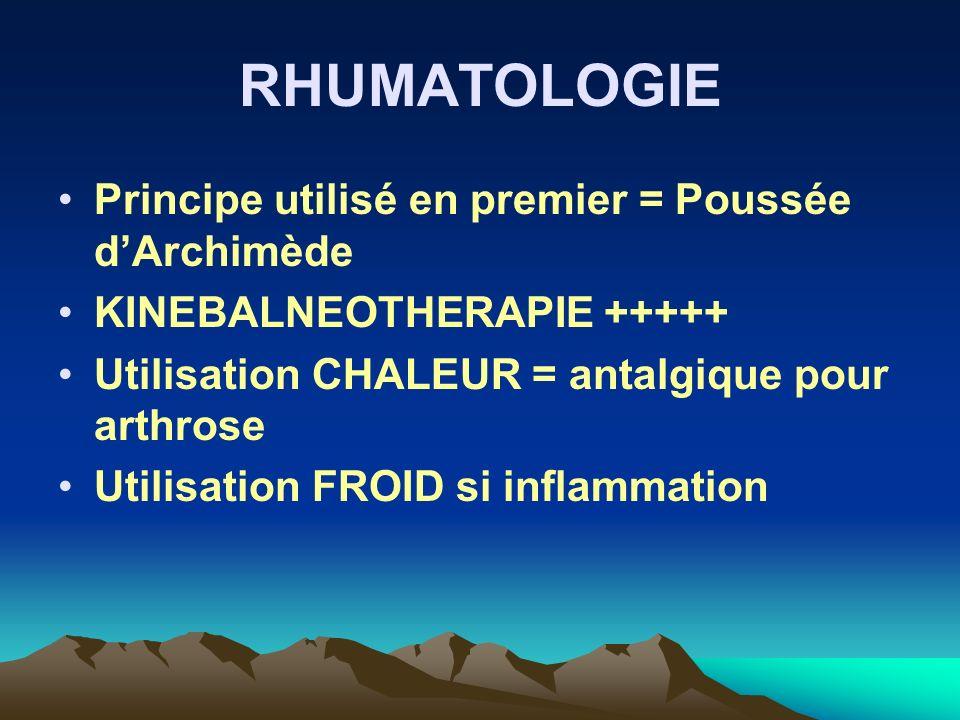 RHUMATOLOGIE Principe utilisé en premier = Poussée d'Archimède