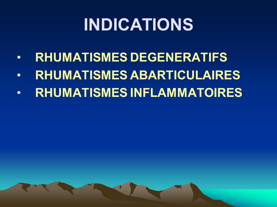 INDICATIONS RHUMATISMES DEGENERATIFS RHUMATISMES ABARTICULAIRES
