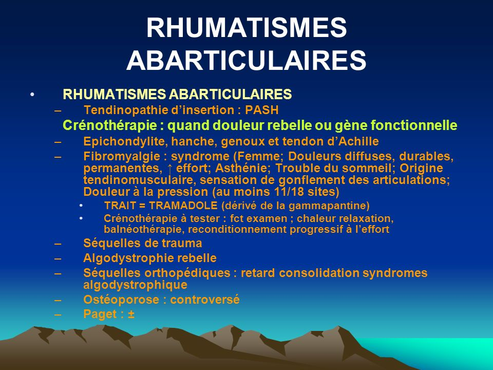 RHUMATISMES ABARTICULAIRES