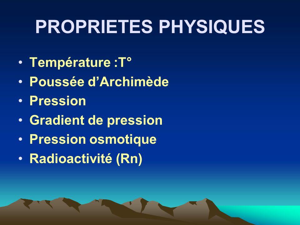 PROPRIETES PHYSIQUES Température :T° Poussée d'Archimède Pression
