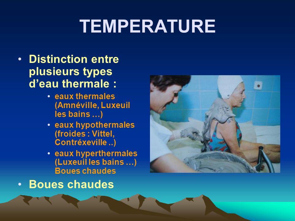 TEMPERATURE Distinction entre plusieurs types d'eau thermale :