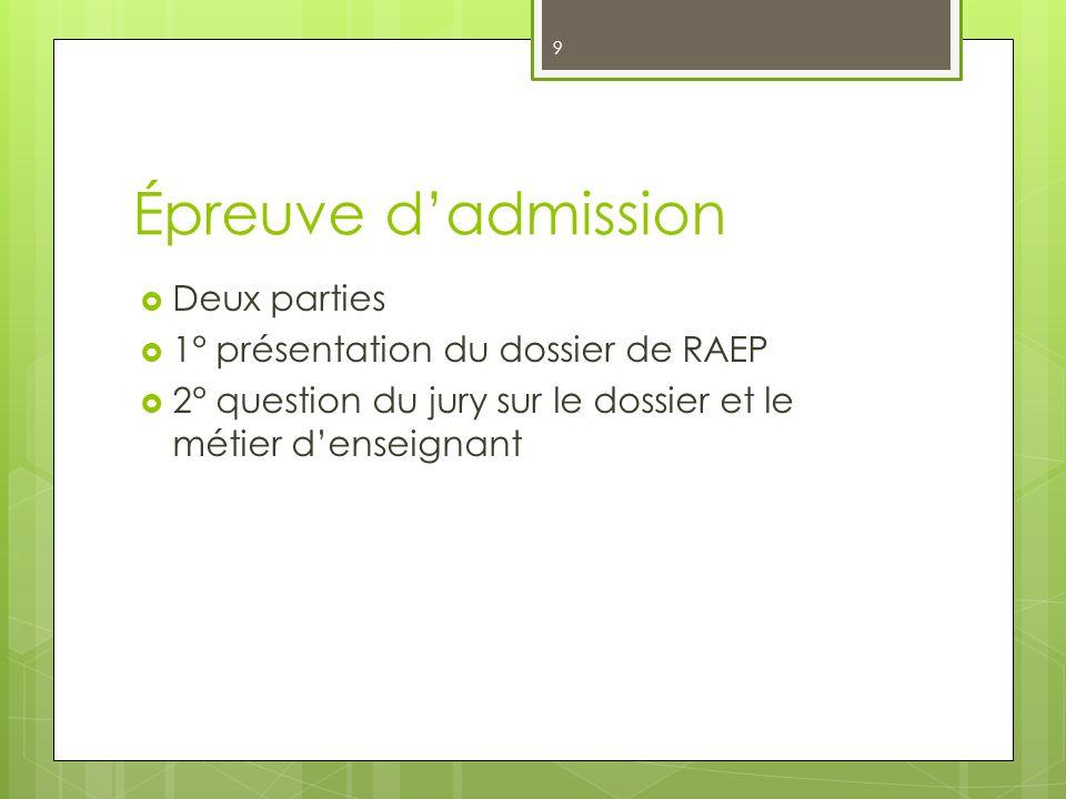 Épreuve d'admission Deux parties 1° présentation du dossier de RAEP