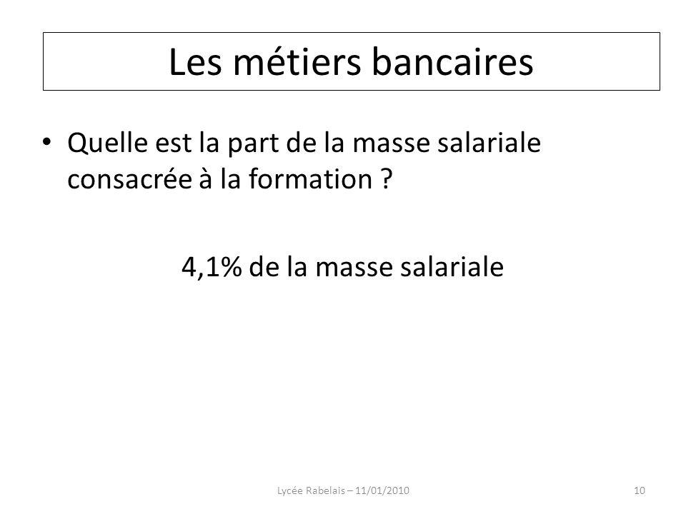 Les métiers bancaires Les métiers bancaires. Quelle est la part de la masse salariale consacrée à la formation