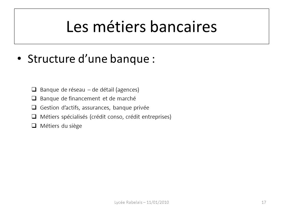 Les métiers bancaires Structure d'une banque :