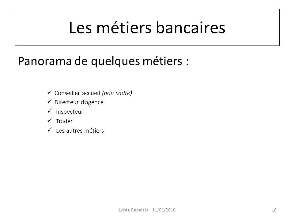 Les métiers bancaires Panorama de quelques métiers :