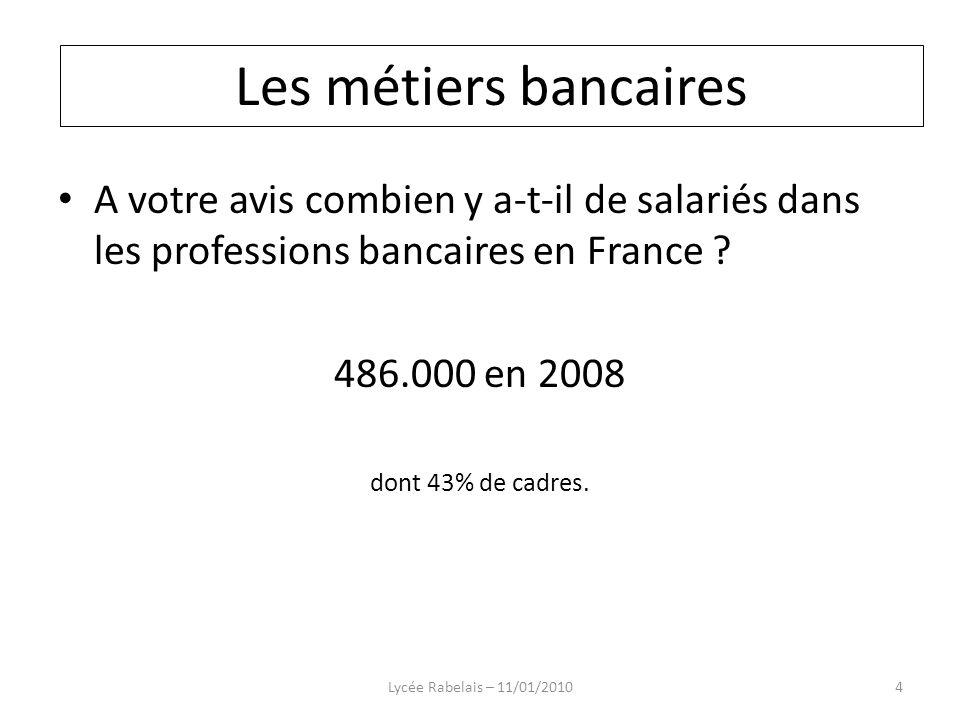 Les métiers bancaires Les métiers bancaires. A votre avis combien y a-t-il de salariés dans les professions bancaires en France