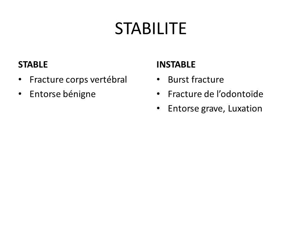 STABILITE STABLE INSTABLE Fracture corps vertébral Entorse bénigne