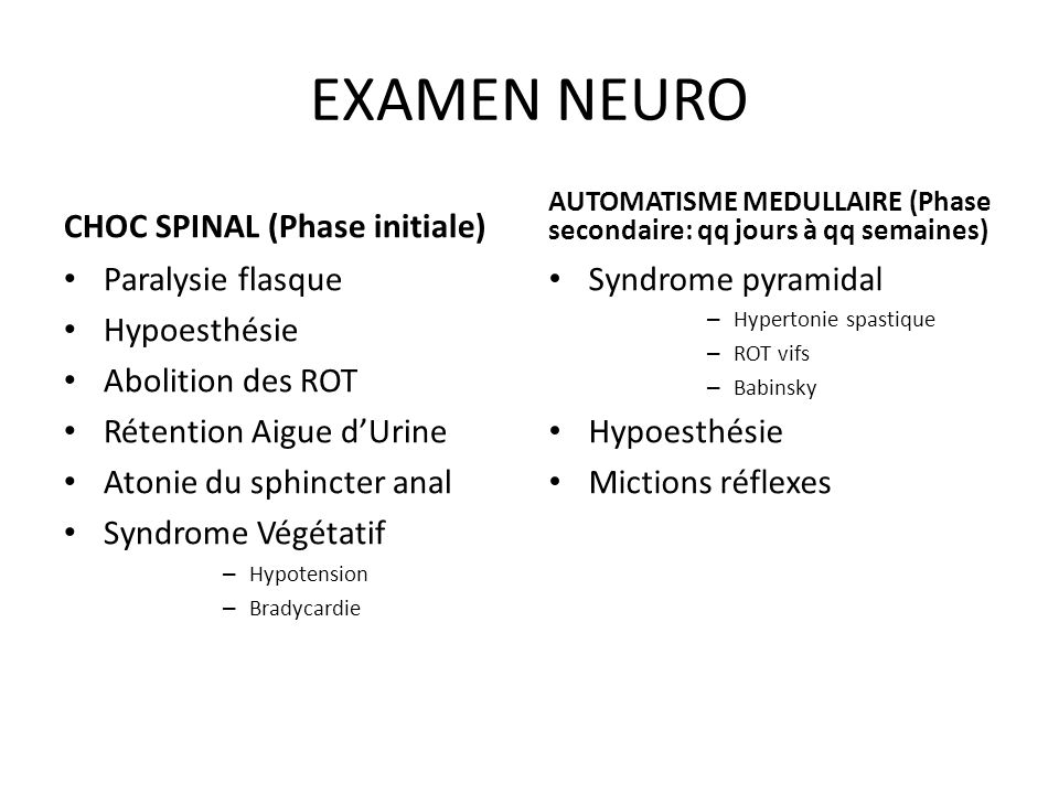 EXAMEN NEURO CHOC SPINAL (Phase initiale) Paralysie flasque
