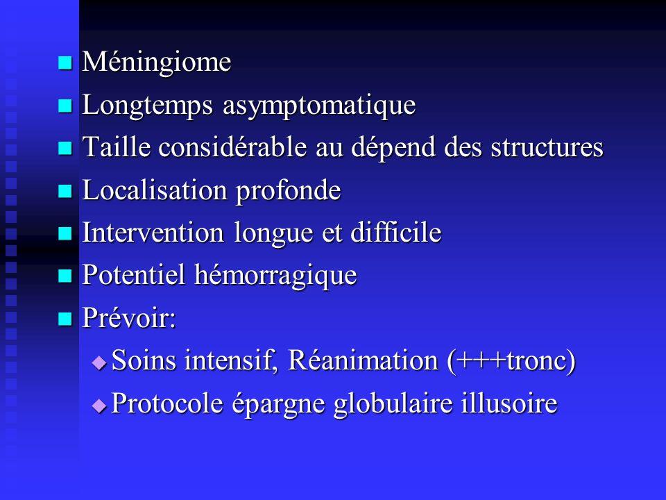 MéningiomeLongtemps asymptomatique. Taille considérable au dépend des structures. Localisation profonde.
